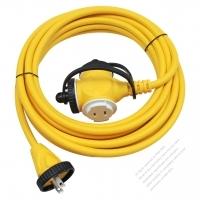 China 2-Pin Locking Cord 2*1.5MMSQ Yellow 5M or 10M (16.4 or 32.8FT)