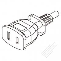 USA/Canada AC Connector 2-Pin Straight Blade, NEMA 1-15R 15A 125V