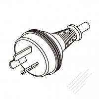 Australia 3-Pin Plug/Cable End Remove Outer Sheath 20mm Semi-Stripe Inner Sheath 13mm AC Power Cord - Molding PVC 1.8M (1800mm) Black  (H05VV-F  3G 0.75mm2  )