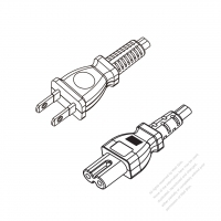 Taiwan 2-Pin Plug to IEC 320 C7 Power cord set (HF - Halogen free) 1.8M (1800mm) Black (H05Z1Z1H2-F 2X0.75MM )