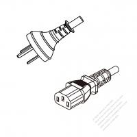China 3-Pin Plug To IEC 320 C13 AC Power Cord Set Molding (PVC) 1 M (1000mm) Black (60227 IEC 53 3*0.75mmSQ )