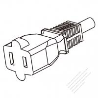 USA/Canada AC Connector 2-Pin Straight Blade, NEMA 1-15R 13A/15A 125V