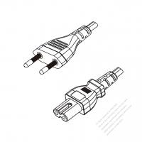 Brazil 2-Pin Plug to IEC 320 C7 Power Cord Set (PVC) 1.8M (1800mm) Black  (H05VVH2-F 2X0.75MM )