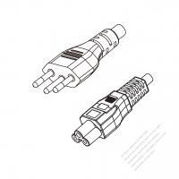 Brazil 3-Pin Plug to IEC 320 C5 Power Cord Set (PVC) 1.8M (1800mm) Black  (H03VV-F 3G 0.75MM2 )