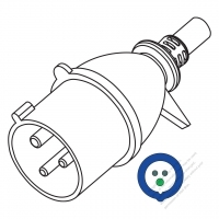 IEC 309 (2P+E ) IP 44 Splash proof AC Plug, 32A 220V, 30A(6H)