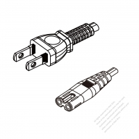 Japan 2-Pin Semi-Insulation Plug To IEC 320 C7 AC Power Cord Set Molding (PVC) 1.8M (1800mm) Black (VFF 2X 0.75mm2 Flat )
