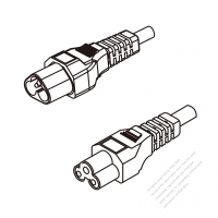 US/Canada 3-Pin IEC 320 Sheet A Plug To IEC 320 C5 AC Power Cord Set Molding (PVC) 1.8M (1800mm) Black (SVT 18/3C/60C )