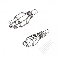 Japan 3-Pin Plug To IEC 320 C5 AC Power Cord Set Molding (PVC) 1.8M (1800mm) Black (VCTF 3X0.75MM Round )