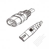 Europe 2-Pin IEC 320 Sheet C Plug to C7 Power Cord Set (PVC) 1.8M (1800mm) Black  (H03VVH2-F 2X0.75MM )
