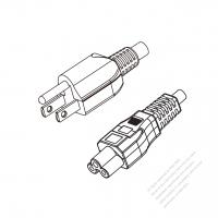 Taiwan 3-Pin Plug to IEC 320 C5 Power cord set (HF - Halogen free) 1.8M (1800mm) Black (H03Z1Z1-F 3X0.75MM )