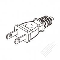 Taiwan 2-Pin Plug/Cable End Remove Outer Sheath 20mm Semi-Stripe Inner Sheath 13mm AC Power Cord - Molding PVC 1.8M (1800mm) Black  (VCTFK 2X0.75mm FLAT )
