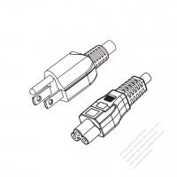 Taiwan 3-Pin Plug to IEC 320 C5 Power Cord Set (PVC) 1 M (1000mm) Black  (VCTF 3X0.75MM )