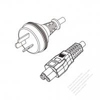 Australia 3-Pin Plug to IEC 320 C5 Power cord set (HF - Halogen free) 1.8M (1800mm) Black (H05Z1Z1-F 3X0.75MM )