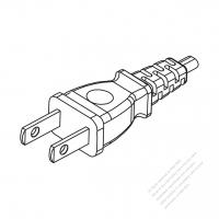 Taiwan/ Japan 2-Pin 2 wire Straight AC Plug, 7A/9A/ 11A/ 12A/ 15A 125V