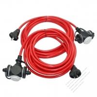Taiwan 2 Pin Locking Cord NEMA 1-15P Plug /1-15R Receptacle x 3(1.25MMSQ)Red 5M or 10M (16.4 or 32.8FT)