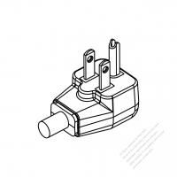 "Taiwan/ Japan 3-Pin Elbow AC Plug ""U"" grounding, 7A/11A/15A 125V"