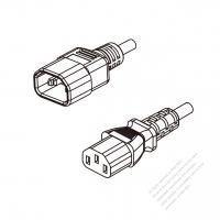 Brazil 3-Pin IEC 320 Sheet E Plug To IEC 320 C13 AC Power Cord Set Molding (PVC) 1.8M (1800mm) Black ( H05VV-F 3G 0.75mm2 )