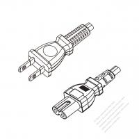 Japan 2-Pin Plug to IEC 320 C7 Power Cord Set (PVC) 1.8M (1800mm) Black  (VFF 2X0.75MM )