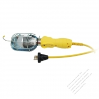 USA 3Pin 7W Working Light W/ extension Cord NEMA 5-15P Plug / 1-15R, 5-15R Receptacle, Yellow 15 FT (4.57M)