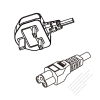 Singapore 3-Pin Plug To IEC 320 C5 AC Power Cord Set Molding (PVC) 1.8M (1800mm) Black ( H05VV-F 3G 0.75mm2 )