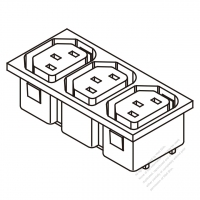 AC Socket IEC 60320-2 Sheet F Appliance Outlet  X 3, (series terminal type) 10A/15A