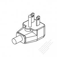 Taiwan/ Japan 3-Pin Elbow AC Plug, 9A/ 11A/ 15A 125V