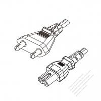India 2-Pin Plug to IEC 320 C7 Power Cord Set (PVC) 1.8M (1800mm) Black  (YY 2C 0.75MM (FLAT) )
