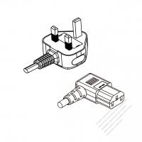 UK 3-Pin Plug to IEC 320 C13 Right Angle Power cord set (HF - Halogen free) 1.8M (1800mm) Black (H05Z1Z1-F 3X0.75MM )