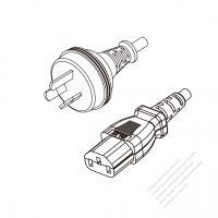 Australia 3-Pin Plug to IEC 320 C13 Power Cord Set (PVC) 1.8M (1800mm) Black  (H05VV-F 3G 0.75MM2 )