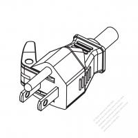 Taiwan/ Japan 3-Pin Straight AC Plug, 7A, 11A, 15A 125V
