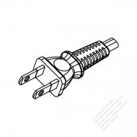 Japan 2-Pin Semi-Insulation Plug/Cable End Cut AC Power Cord - Molding PVC 1.8M (1800mm) Black  (60227 IEC 52 2X 0.75mm2 )