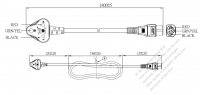India 3-Pin Angle Type Plug to IEC 320 C5 Power Cord Set (PVC) 1.8M (1800mm) Black  (YY 3G 0.75mm² (ROUND) )