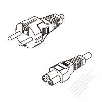 Russia 3-Pin Plug To IEC 320 C5 AC Power Cord Set Molding (PVC) 1.8M (1800mm) Black ( H05VV-F 3G 0.75mm2 )