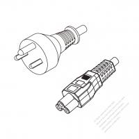 Denmark 3-Pin Plug to IEC 320 C5 Power Cord Set (PVC) 1.8M (1800mm) Black  (H05VV-F 3G 0.75MM2 )