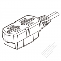 USA/Canada Multi-outlet AC Connector (NEMA 1-15R) Straight Blade 3 outlet, 2 P, 2 Wire Non-Grounding
