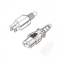 Japan 3-Pin Plug to IEC 320 C13 Power Cord Set (PVC) 1.8M (1800mm) Black  (VCTF 3X0.75MM )