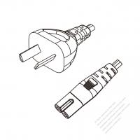 Argentina 2-Pin Plug to IEC 320 C7 Power Cord Set (PVC) 1 M (1000mm) Black  (H03VVH2-F 2X0.75MM )