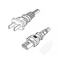 China 2-Pin Plug to IEC 320 C7 Power Cord Set (PVC) 1.8M (1800mm) Black  60227 IEC 53 (RVV300/500) 2X0.75mm² )