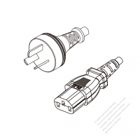 Argentina 3-Pin Plug to IEC 320 C13 Power cord set (HF - Halogen free) 1.8M (1800mm) Black (H05Z1Z1-F 3X0.75MM )