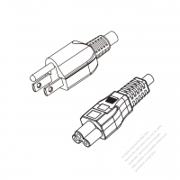 Japan 3-Pin Plug to IEC 320 C5 Power cord set (HF - Halogen free) 1.8M (1800mm) Black (EM-ECTF 3X0.75MM )