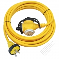 China 3-Pin Locking Cord 3*1.5MMSQ Yellow 5M or 10M (16.4 or 32.8FT)