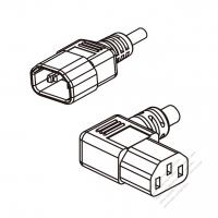 US/Canada 3-Pin IEC 320 Sheet E Plug To IEC 320 C13 Left Angle AC Power Cord Set Molding (PVC) 1.8M (1800mm) Black (SVT 18/3C/60C )