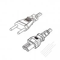 Switzerland 2-Pin Plug to IEC 320 C7 Power cord set (HF - Halogen free) 1.8M (1800mm) Black (H05Z1Z1H2-F 2X0.75MM )