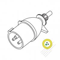 IEC 309 (2P+E ) IP 20 Splash proof AC Plug, 16A 110V (4H)