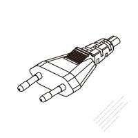 Korea 2-Pin Plug/ Cable End Cut AC Power Cord - Molding PVC 1.8M (1800mm) Black  (H05VVH2-F  2X 0.75mm2  )
