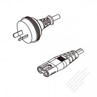 Australia 2-Pin Plug To IEC 320 C7 AC Power Cord Set Molding (PVC) 0.5M (500mm) Black ( H03VVH2-F 2X 0.75mm2 )
