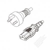 Denmark 3-Pin Plug to IEC 320 C13 Power cord set (HF - Halogen free) 1.8M (1800mm) Black (H05Z1Z1-F 3X0.75MM )