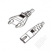 India 3-Pin Plug to IEC 320 C7 Power cord set (HF - Halogen free) 1.8M (1800mm) Black (H05Z1Z1H2-F 2X0.75MM )