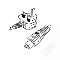 UK 3-Pin Plug to IEC 320 C5 Power Cord Set (PVC) 1 M (1000mm) Black  (H05VV-F 3G 0.75MM2 )