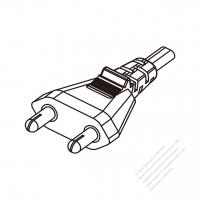 India 2-Pin Plug/Cable End Remove Outer Sheath 20mm Semi-Stripe Inner Sheath 13mm AC Power Cord - Molding PVC 1.8M (1800mm) Black  (YY  2C 0.75mm2  )